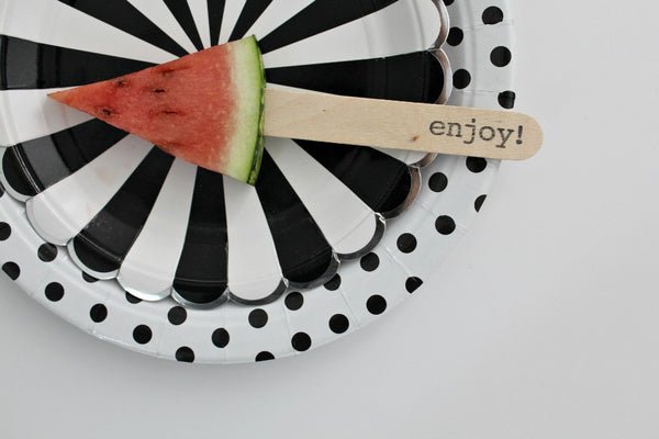 'enjoy' Stamped Wooden Ice Block Sticks - Pop Roc Parties