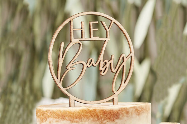 Wooden 'Hey Baby' Cake Topper | Pop Roc Parties