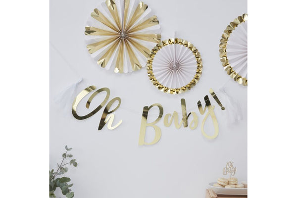Gold 'Oh Baby' Tassel Garland | Pop Roc Parties