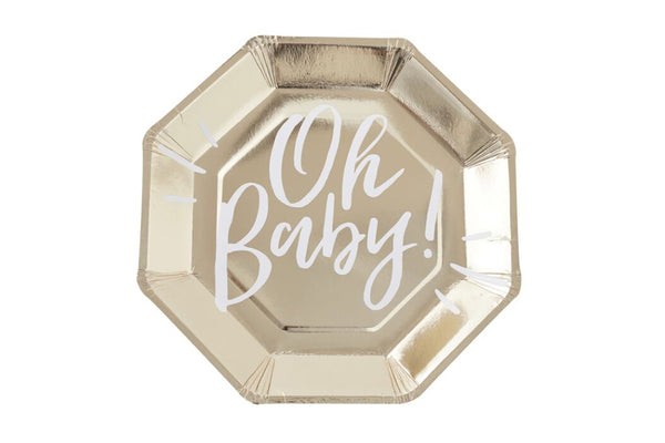 Oh Baby! Gold Paper Plates | Pop Roc Parties