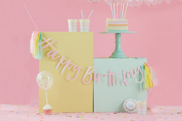 Pastel Party 'Happy Birthday' Bunting with Tassels | Pop Roc Parties