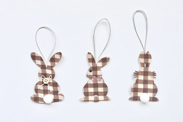 Gingham Hanging Bunny Decorations | Pop Roc Parties