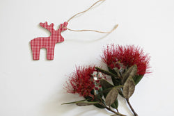 Wooden Gingham Christmas Reindeer Decorations - Pop Roc Parties