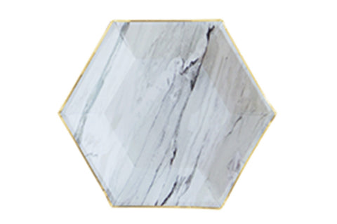 Marble Hexagon Party Plates