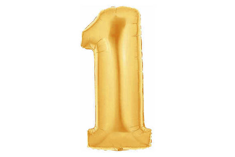 Metallic Gold Foil Number '1' Balloon - Pop Roc Parties