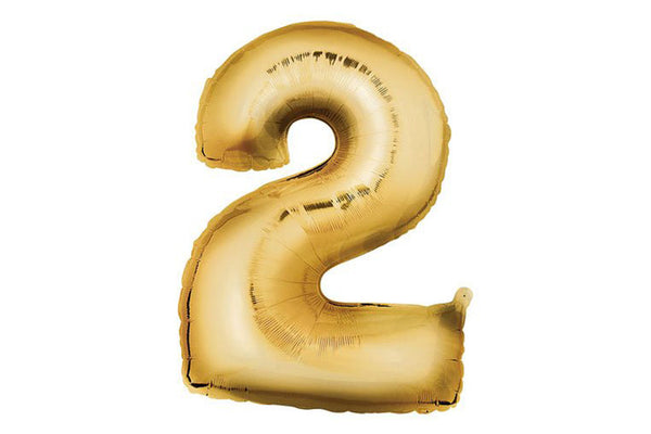 Metallic Gold Foil Number '2' Balloon - Pop Roc Parties