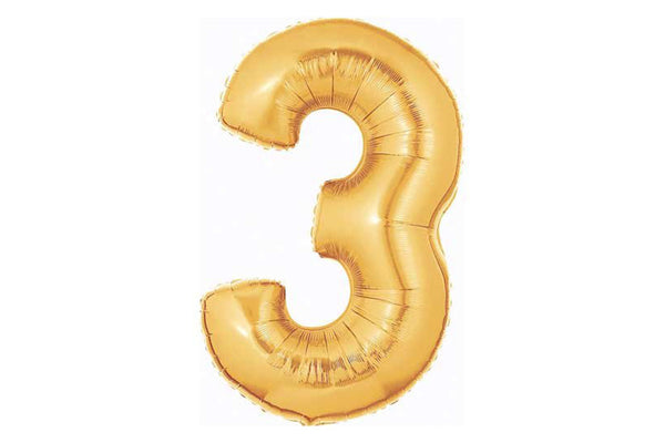 Metallic Gold Foil Number '3' Balloon - Pop Roc Parties