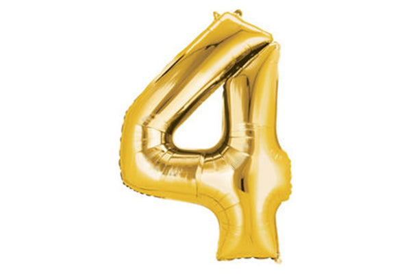 Metallic Gold Foil Number '4' Balloon - Pop Roc Parties