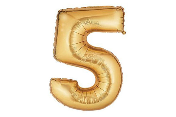 Metallic Gold Foil Number '5' Balloon - Pop Roc Parties