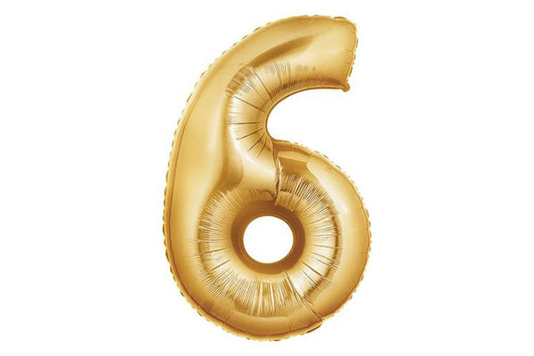 Metallic Gold Foil Number '6' Balloon - Pop Roc Parties
