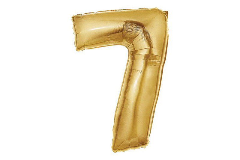 Metallic Gold Foil Number '7' Balloon - Pop Roc Parties