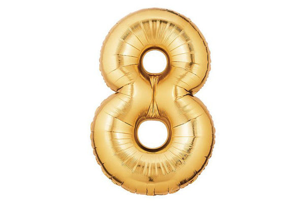 Metallic Gold Foil Number '8' Balloon - Pop Roc Parties