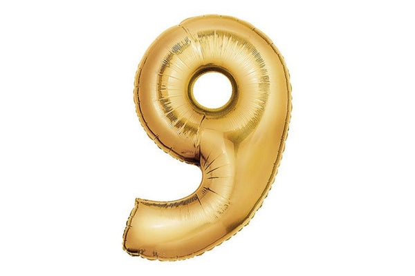 Metallic Gold Foil Number '9' Balloon - Pop Roc Parties
