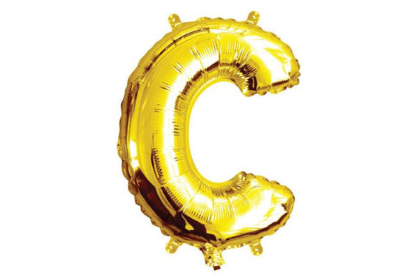 Mini Gold Foil Letter 'C' Balloon - Pop Roc Parties