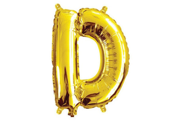 Mini Gold Foil Letter 'D' Balloon | Pop Roc Parties