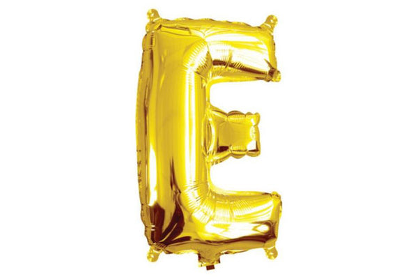 Mini Gold Foil Letter 'E' Balloon - Pop Roc Parties