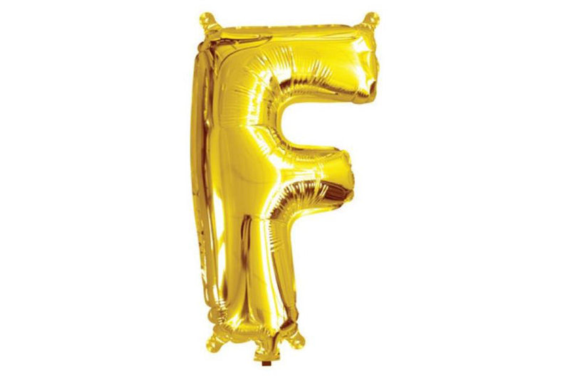 Mini Gold Foil Letter 'F' Balloon - Pop Roc Parties