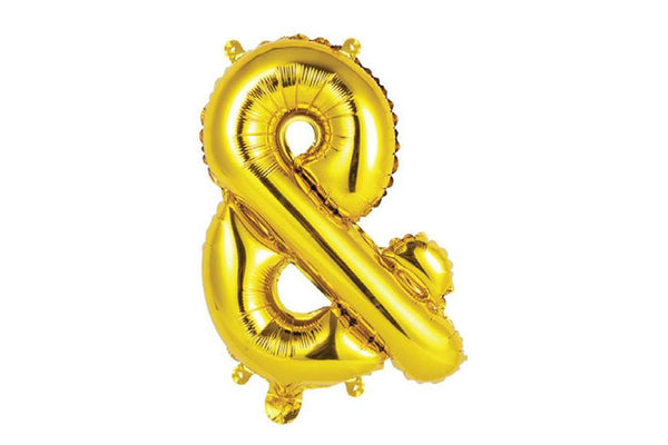 Mini Gold Foil Ampersand Balloon - Pop Roc Parties