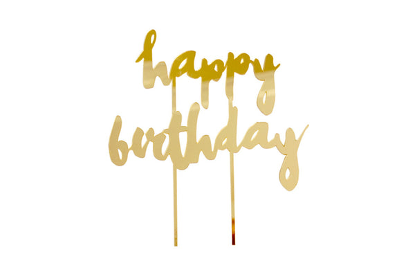 Gold 'Happy Birthday' Cake Topper - Pop Roc Parties