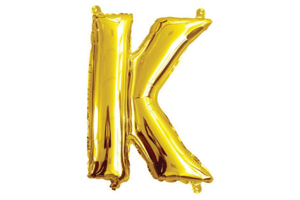 Mini Gold Foil Letter 'K' Balloon - Pop Roc Parties