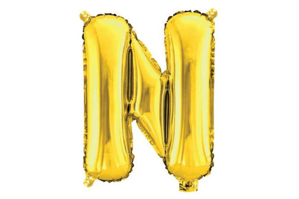 Mini Gold Foil Letter 'N' Balloon | Pop Roc Parties
