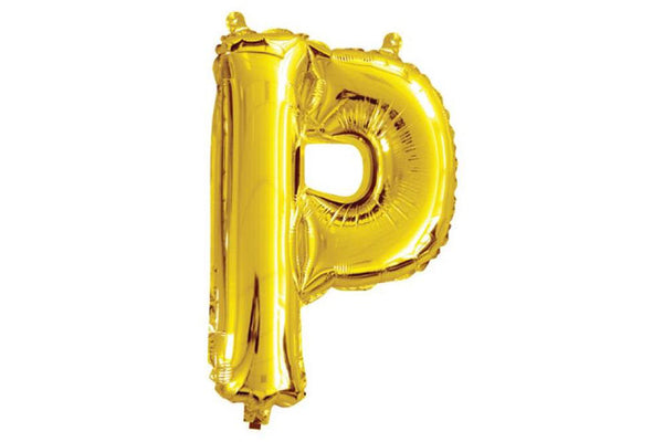 Mini Gold Foil Letter 'P' Balloon - Pop Roc Parties
