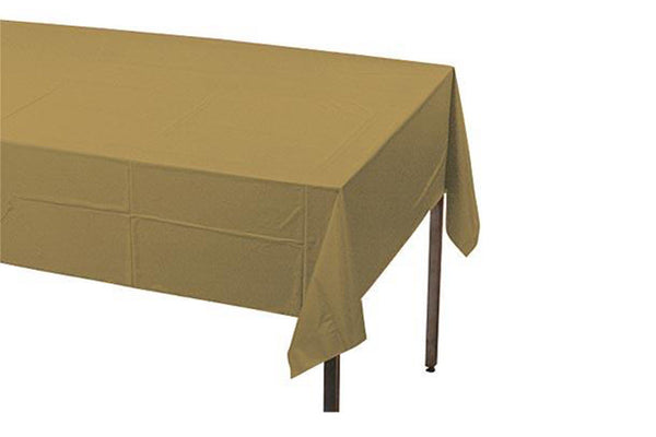 Gold Plastic Table Cover - Pop Roc Parties