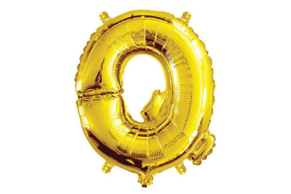 Mini Gold Foil Letter 'Q' Balloon - Pop Roc Parties