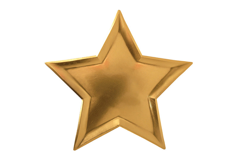 Gold Star Shaped Plates - Pop Roc Parties