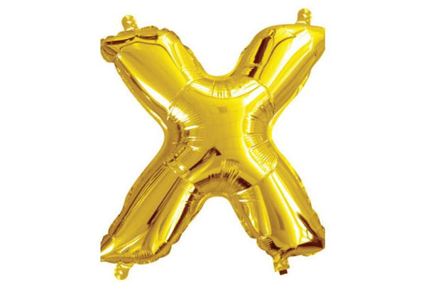 Mini Gold Foil Letter 'X' Balloon - Pop Roc Parties