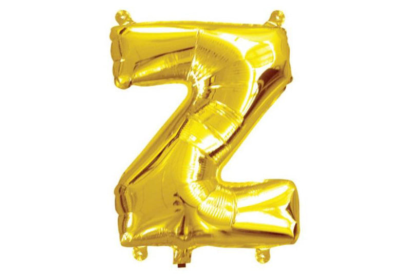 Mini Gold Foil Letter 'Z' Balloon - Pop Roc Parties
