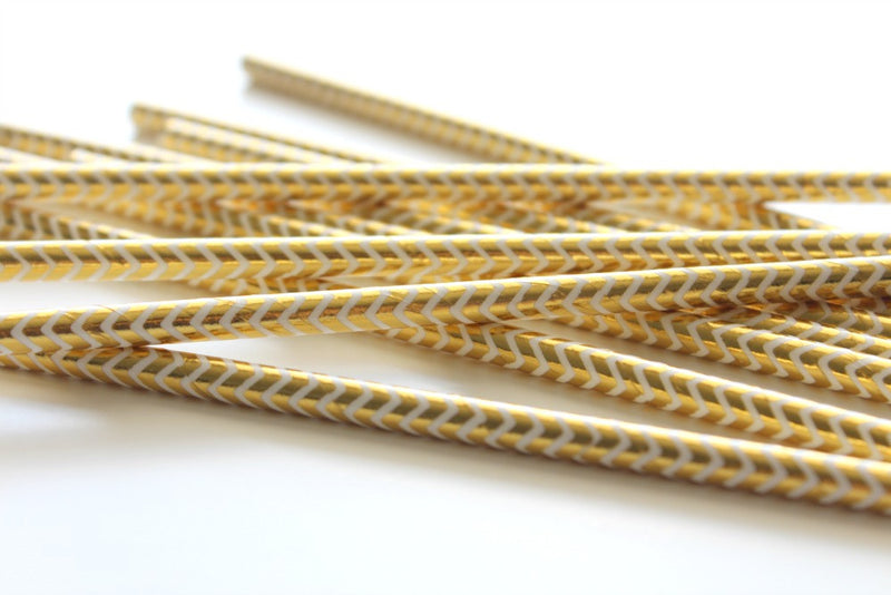 Gold Foil Chevron Paper Straws | Pop Roc Parties