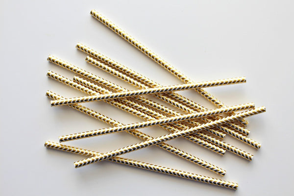 Gold Foil Chevron Paper Straws - Pop Roc Parties