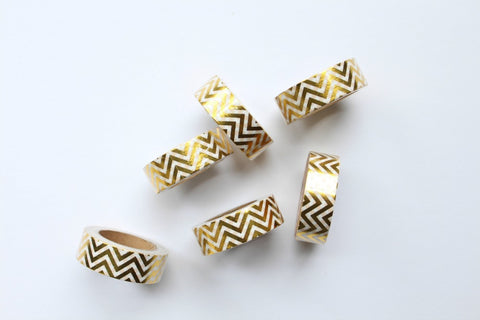 Gold Foil Chevron Washi Tape - Pop Roc Parties