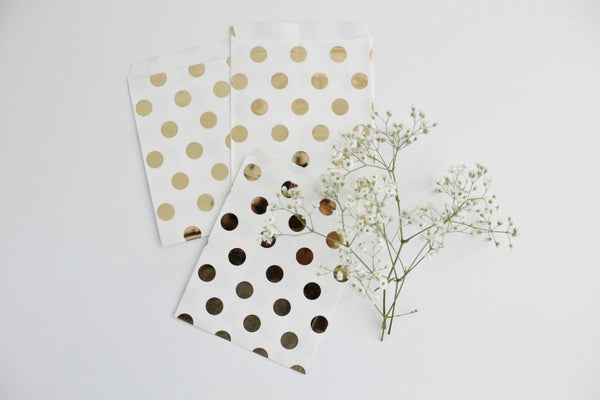 Gold Foil Polka Dot Favor Bags | Pop Roc Parties
