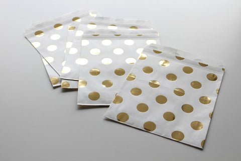 Gold Foil Polka Dot Favor Bags - Pop Roc Parties