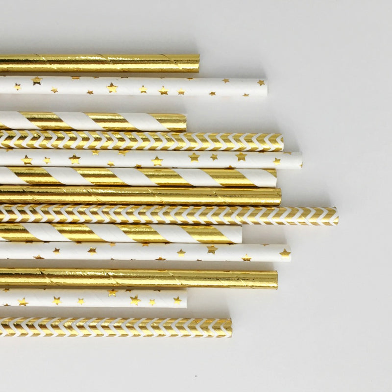 Gold Foil Stripe Paper Straws | Pop Roc Parties