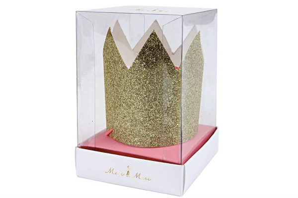 Gold Glitter Crown - Pop Roc Parties
