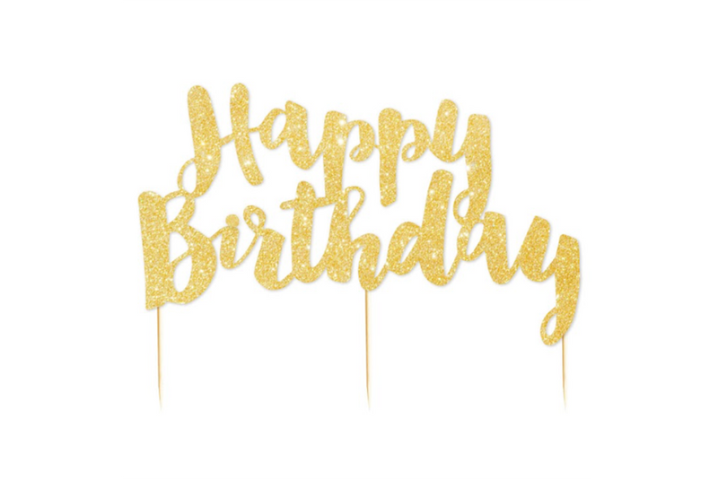 Gold Glitter 'Happy Birthday' Cake Topper - Pop Roc Parties