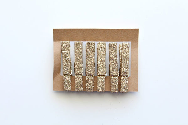 Gold Glitter Wooden Pegs - Pop Roc Parties