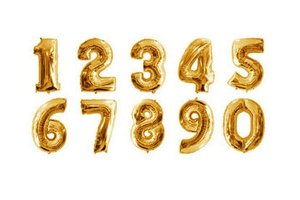 Metallic Gold Foil Number Balloons - Pop Roc Parties