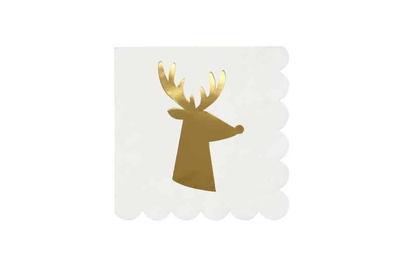 Meri Meri Gold Reindeer Napkins | Pop Roc Parties