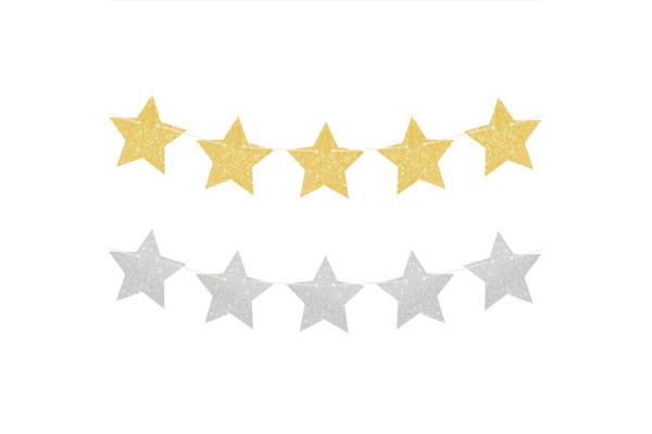 Gold & Silver Glitter Star Reversible Garland - Pop Roc Parties