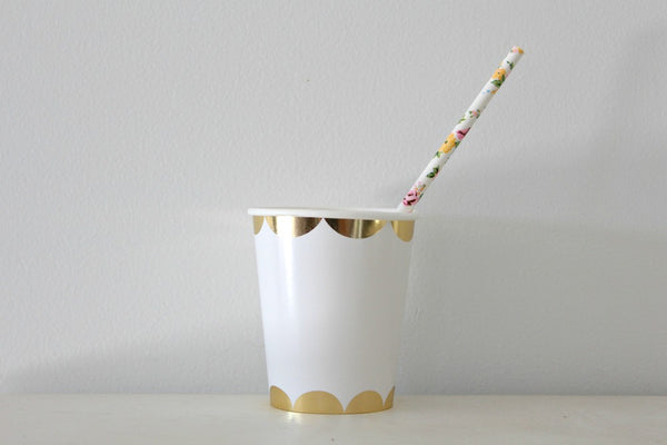 White Floral Paper Straws - Pop Roc Parties