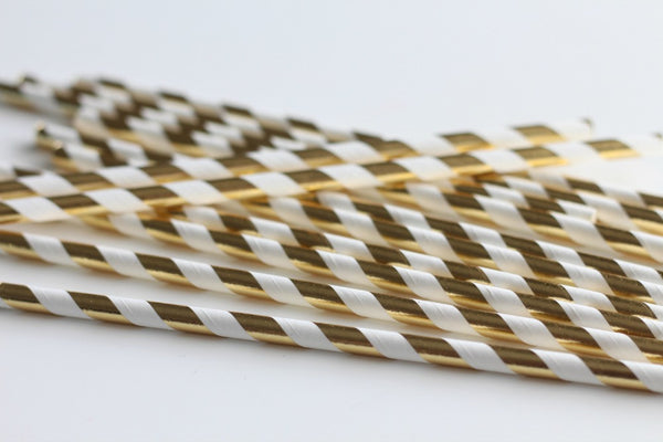 Gold Foil Stripe Paper Straws - Pop Roc Parties