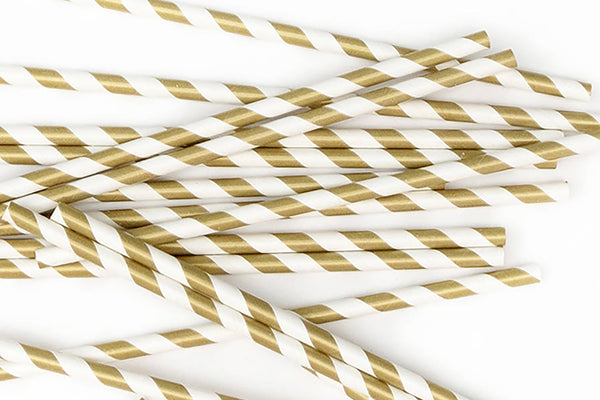 Gold Stripe Paper Straws | Pop Roc Parties