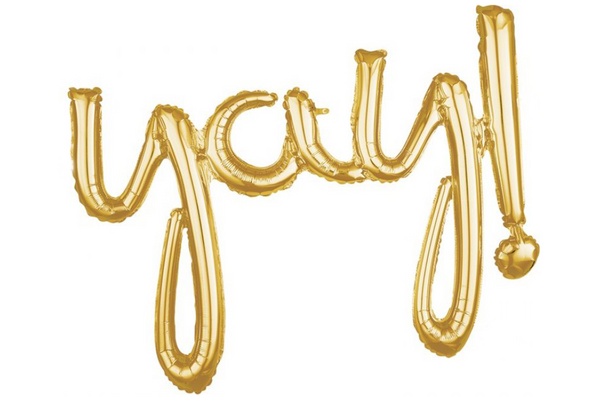 Metallic Gold Foil 'yay!' Script Balloon | Pop Roc Parties