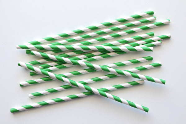 Dark Green Stripe Paper Straws | Pop Roc Parties