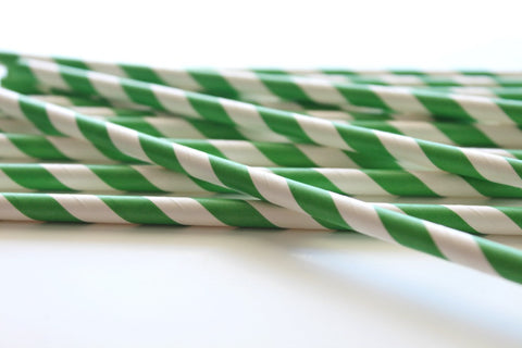 Dark Green Stripe Paper Straws - Pop Roc Parties