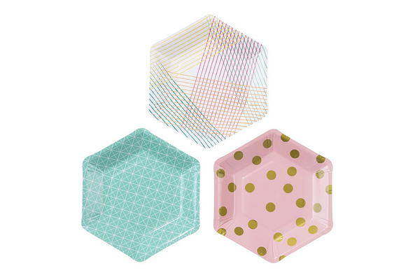 Hexagon Party Plates - Pop Roc Parties